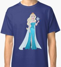 Snow Princess In Blue Dress Holds Snowflake Classic T-Shirt