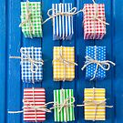 Colorful gift boxes by Barbara Neveu