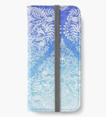 Out of the Blue - White Lace Doodle in Ombre Aqua and Cobalt iPhone Wallet/Case/Skin