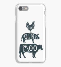 Farm Anilmals Silhouette. Chicken, pig and cow. iPhone Case/Skin