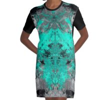 abstract teal/grey Graphic T-Shirt Dress