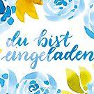 Blau-Blumige Aquarell-Einladungskarte von farbcafe