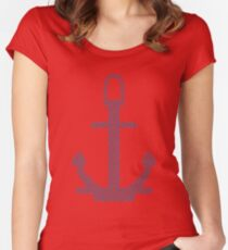 Abstract Anchor Silhouette with Pattern Women's Fitted Scoop T-Shirt