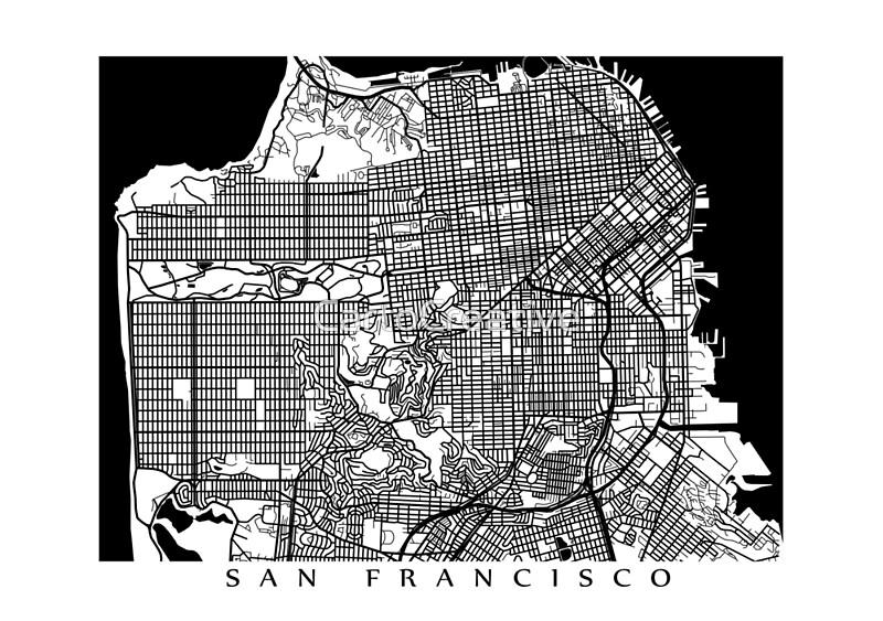 San Francisco Black and White Map Art California USA Canvas