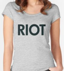 Riot (black) Women's Fitted Scoop T-Shirt