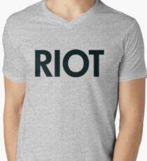 Camiseta para hombre de cuello en v Disturbios (negro)