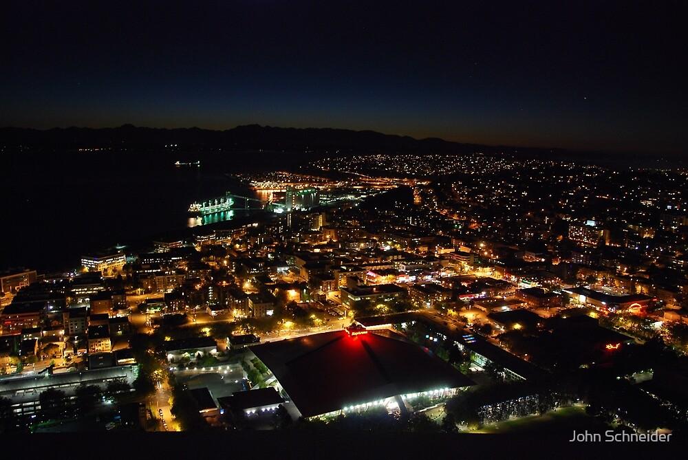 Across Elliott Bay - Seattle WA by John Schneider