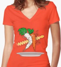 Makanko-salad!!! Women's Fitted V-Neck T-Shirt