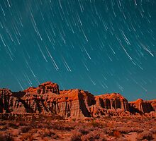 Star Trails Comets Streak Over Red Rock Canyon by Gavin Heffernan
