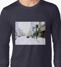 """""""A Cold and Snowy Day in Downtown Knoxville, Tennessee""""... prints and products Long Sleeve T-Shirt"""