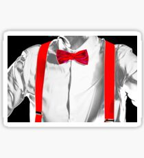 Conceptual costume. Red bow-tie and braces. Jazzbow on white shirt background. Elegance and chic. Sticker