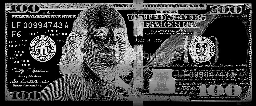 One Hundred US Dollar Bill - $100 USD in Silver on Black by Serge Averbukh