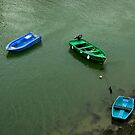 All Tied Up - Three Dinghies Floating by Buckwhite