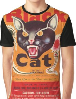 Vintage Fireworks Label:  Black Cat Firecrackers Graphic T-Shirt