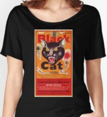 Vintage Fireworks Label:  Black Cat Firecrackers Women's Relaxed Fit T-Shirt