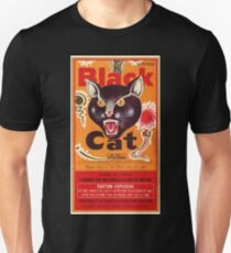 Vintage Fireworks Label:  Black Cat Firecrackers Unisex T-Shirt