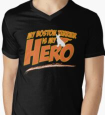 Boston Terrier Super Hero Men's V-Neck T-Shirt