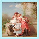 Vintage Mother with children , Throw Pillow  by Irene  Burdell
