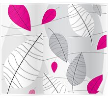 Grey, White & Pink Leaves Poster