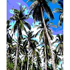 Tropical Palm Trees. Posterised colour design. by Nigel Sutherland