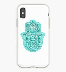 Türkis Hamsa Hand iPhone-Hülle & Cover