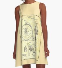 BICYCLE PATENT ; Vintage Papers Print A-Line Dress