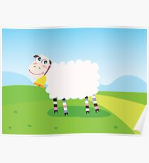 Happy sheep character for Kids. Vector Illustration Poster