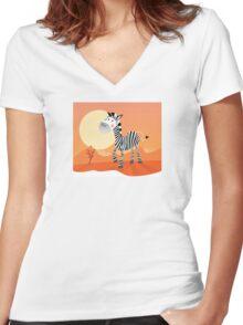 Funny zebra. Vector Illustration of safari animal Women's Fitted V-Neck T-Shirt