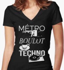 Metro Boulot TECHNO ! Women's Fitted V-Neck T-Shirt
