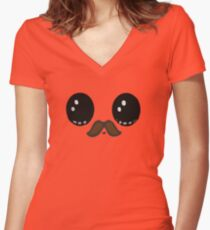 Mustache Women's Fitted V-Neck T-Shirt