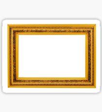 Antique golden frame isolated on white background Sticker