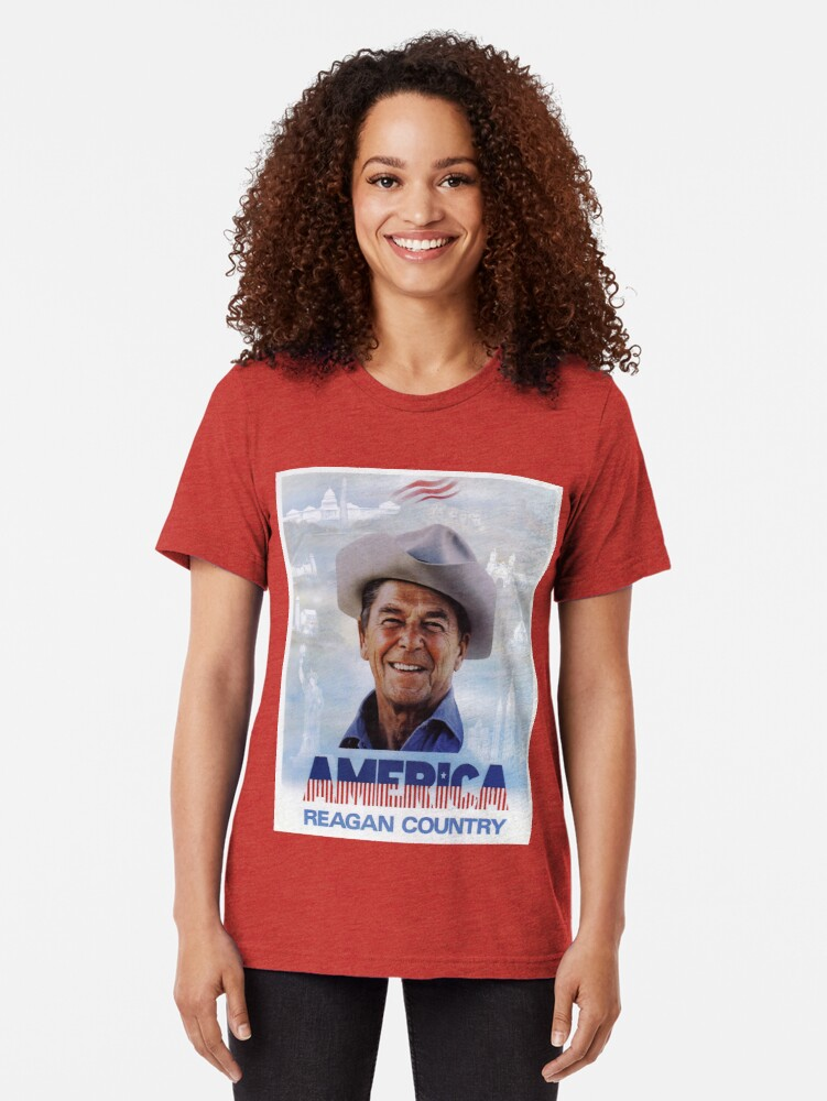 Alternate view of America Reagan Country - Vintage 1980s Campaign Poster Tri-blend T-Shirt