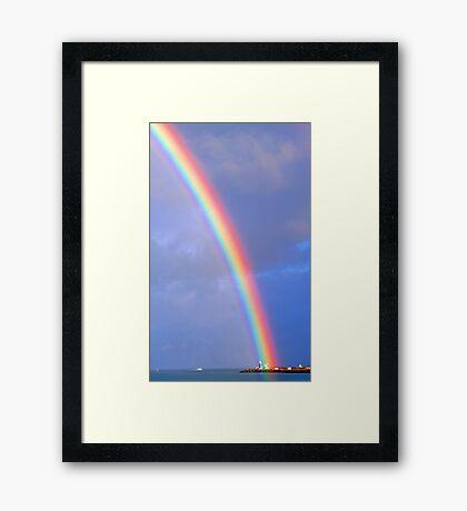 Rainbow Over The Lighthouse - Fremantle Western Australia Framed Print