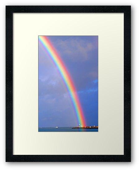 Rainbow Over The Lighthouse - Fremantle Western Australia by EOS20