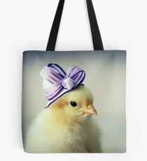 Baby Chicken in a Tiny Purple Hat Tote Bag
