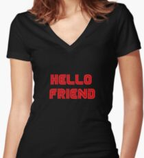 Mr. Robot - Hello friend Women's Fitted V-Neck T-Shirt