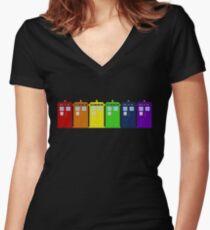 Rainbow Tardis' Women's Fitted V-Neck T-Shirt