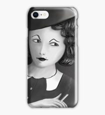 Film Noir Female Character Smoking Cigarette Looking Aside  iPhone Case/Skin