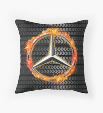 Mercedes Benz on Fire Throw Pillow