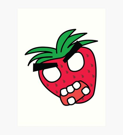 angry zombie strawberry Art Print