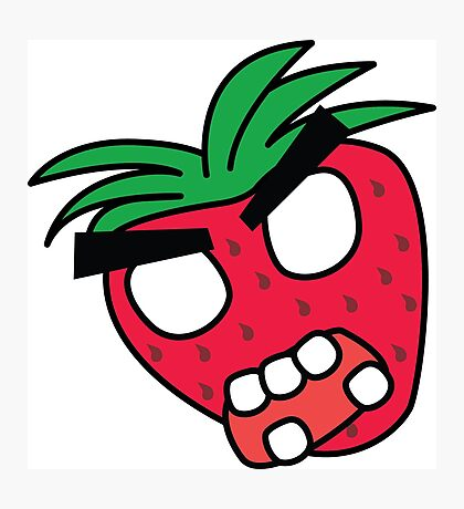 angry zombie strawberry Photographic Print