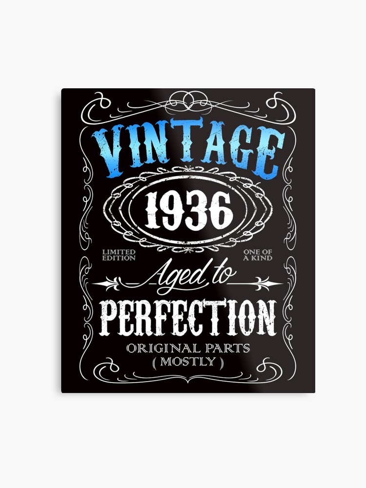 80th Birthday Gift For Men Vintage 1936 Aged To Perfection 80 Metal Print