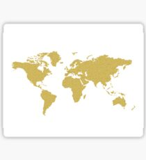 Gold world map stickers redbubble gold world map sticker gumiabroncs Choice Image