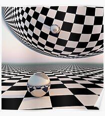 Checkered Surreal Horizon Poster