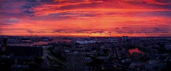 Sunset on River Nieuwe Maas, Rotterdam, (from Euromast) by George Row
