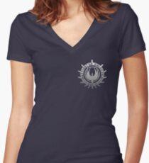 Battlestar Galactica - Chrome Logo Women's Fitted V-Neck T-Shirt