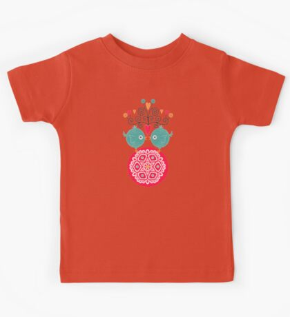 curly whirly lovebirds with heart flowers Kids Clothes