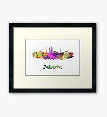 Jakarta skyline in watercolor Framed Print