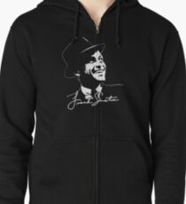 Frank Sinatra - Portrait and signature Zipped Hoodie