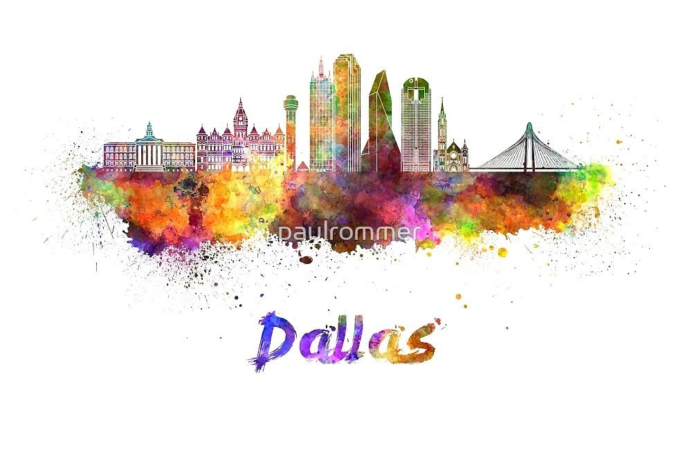 Dallas  skyline in watercolor by paulrommer